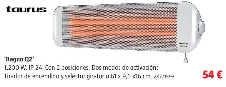Oferta de Calefactor de pared Taurus por 54€