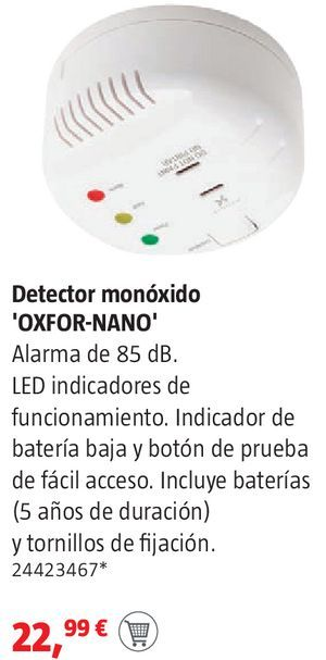 Oferta de Detector de monóxido Oxfor-nano por 22,99€