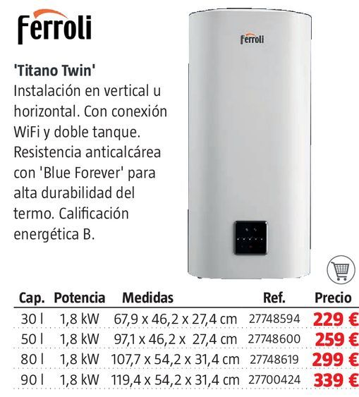 Oferta de Termo eléctrico Ferroli por 229€