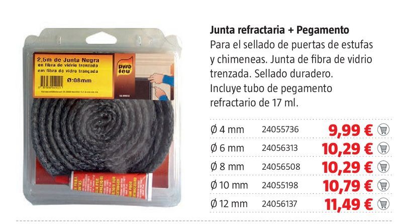 Oferta de Junta refractaria + pegamento por 9,99€