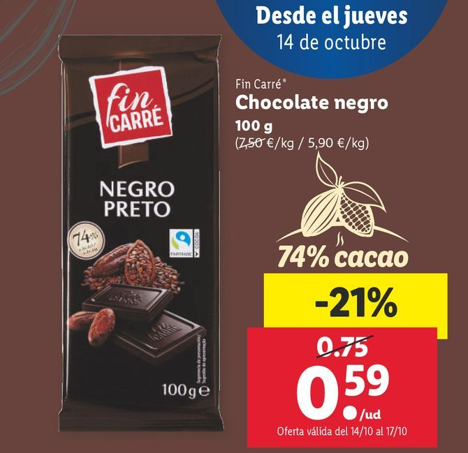Oferta de Chocolate Fin Carré por 0,59€