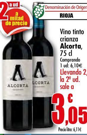 Oferta de Vino tinto crianza Alcorta, 75 cl por 6,1€