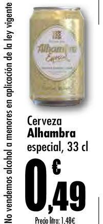 Oferta de Cerveza especial Alhambra, 33 cl por 0,49€