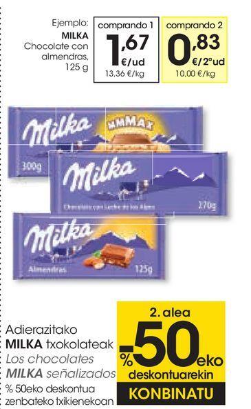 Oferta de Chocolate con almendras Milka por 1,67€