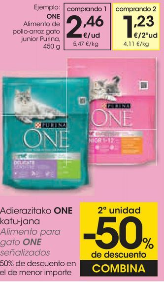 Oferta de Alimento de pollo-arroz gato junior purina por 2,46€