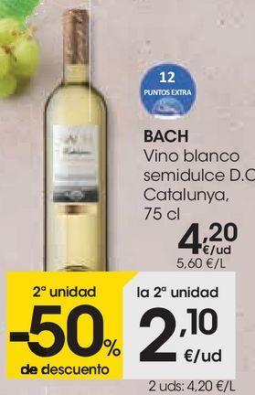 Oferta de Vino blanco semidulce Bach por 4,2€