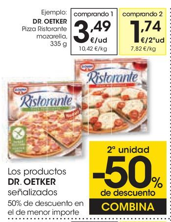 Oferta de Pizza Ristorante mozarella Dr Oetker por 3,49€