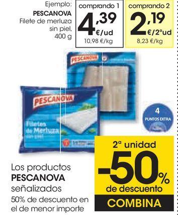 Oferta de Filetes de merluza sin piel Pescanova por 4,39€