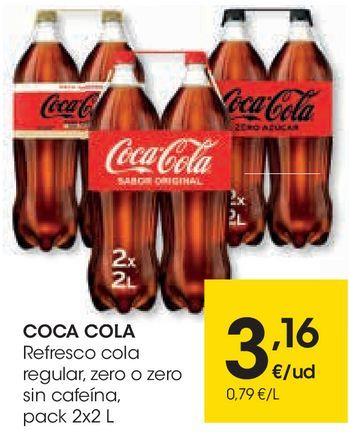 Oferta de Refrescos Cola regular, zero o zero sin cafeína por 3,16€