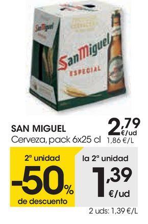 Oferta de Cerveza pack 6x25cl San Miguel por 2,79€