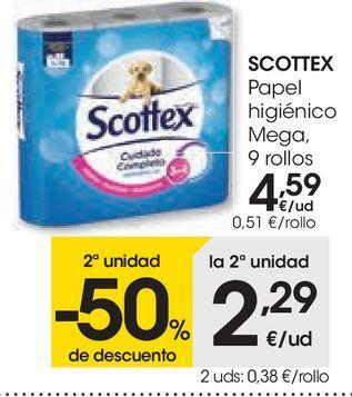 Oferta de Papel higiénico mega Scottex por 4,59€