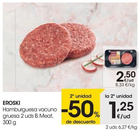 Oferta de Hamburguesas de vacuno gruesa eroski por 2,5€
