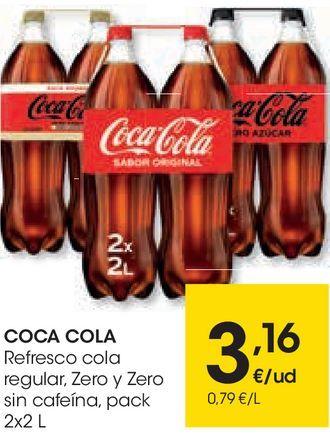 Oferta de Refresco de cola regular, zero y zero sin cafeína Coca-Cola por 3,16€