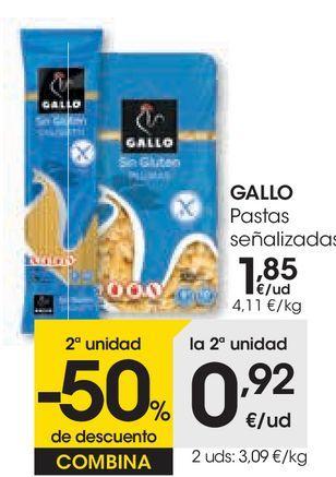 Oferta de Pastas señalizadas Gallo por 1,85€