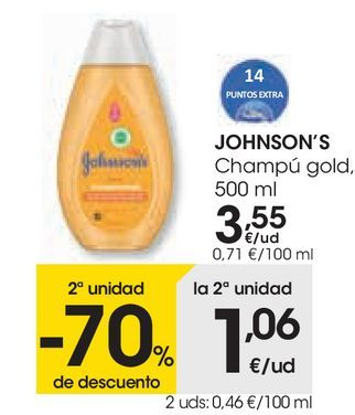 Oferta de Champú gold Johnson's por 3,55€