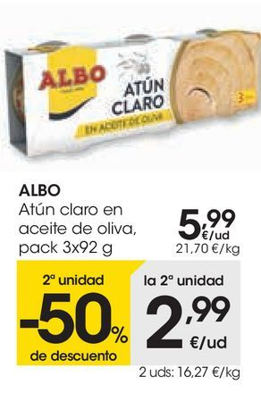 Oferta de Atún claro en aceite de oliva Albo por 5,99€