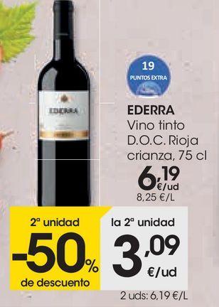 Oferta de Vino tinto rioja crianza Ederra por 6,19€