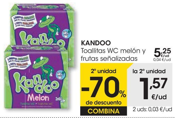 Oferta de Toallitas WC melón y frutas señalizadas Kandoo por 5,25€