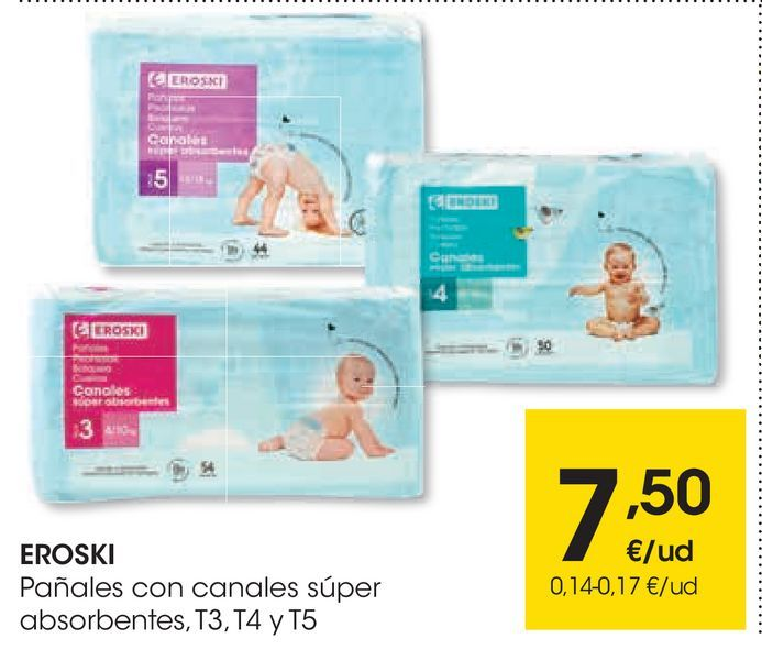 Oferta de Pañales^con canales súper absorbentes T3,T4 y T5 eroski por 7,5€