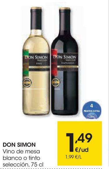 Oferta de Vino de mesa blanco o tinto Don Simón por 1,49€