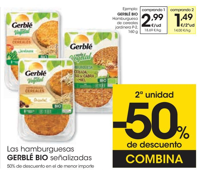 Oferta de Hamburguesa con cereales jardinera  Gerblé por 2,99€