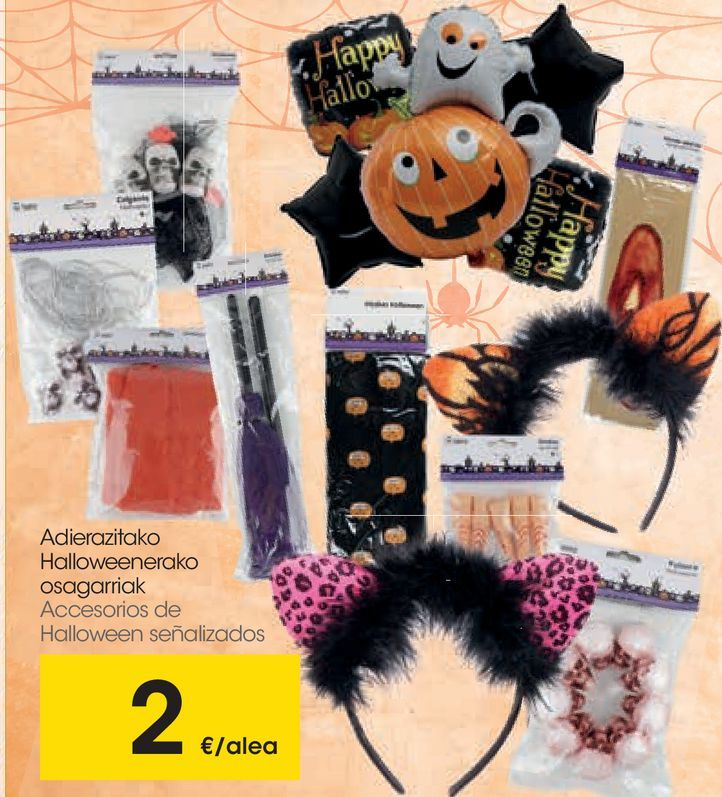 Oferta de Accesorios de Halloween señalizados por 2€