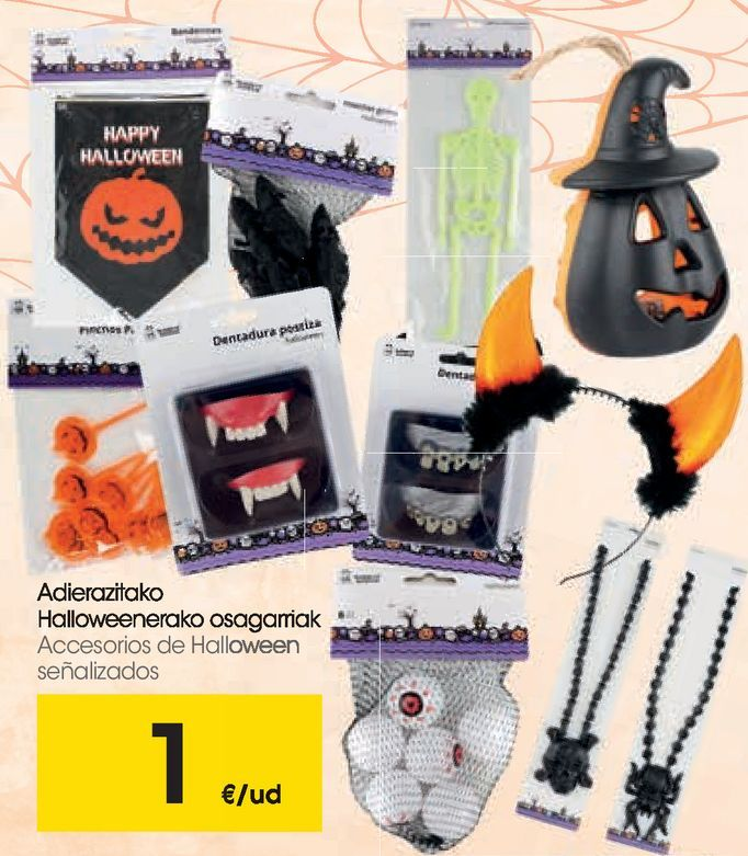 Oferta de Accesorios de Halloween señalizados por 1€