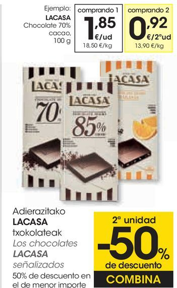 Oferta de Chocolate 70% cacao Lacasa por 1,85€