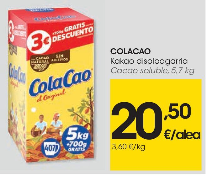 Oferta de Cacao soluble Cola Cao por 20,5€