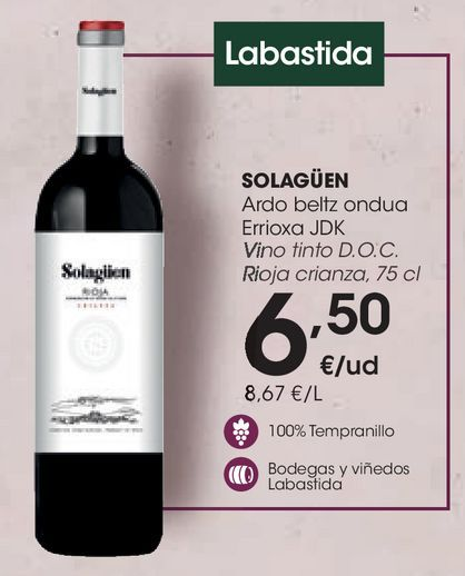 Oferta de Vino tinto D.O.C. Rioja crianza, 75 cl por 6,5€
