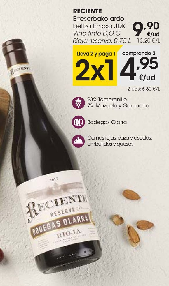 Oferta de RECIENTE Vino tinto D.O.C. Rioja reserva, 0,75 L por 9,9€