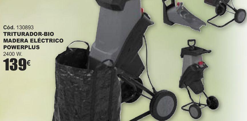 Oferta de TRITURADOR-BIO MADERA ELÉCTRICO POWERPLUS  por 139€