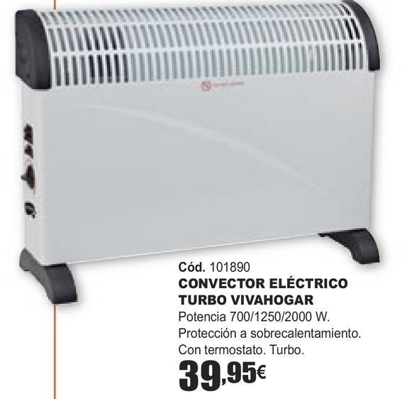 Oferta de CONVECTOR ELÉCTRICO TURBO VIVAHOGAR por 39,95€