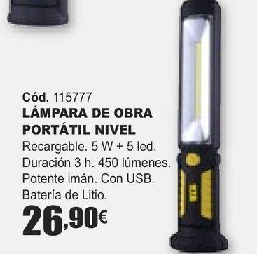 Oferta de LÁMPARA D EOBRA PORTÁTIL NIVEL  por 26,9€