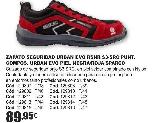 Oferta de ZAPATOS SEGURIDAD URBAN EVO RSNR S3-SRC PUNT. COMPOS. URBAN EVO PIEL NEGRA/ROJA SPARCO  por 89,95€