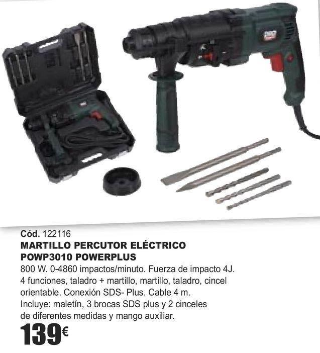 Oferta de MARTILLO PERCUTOR ELÉCTRICO POWP3010 POWERPLUS  por 139€
