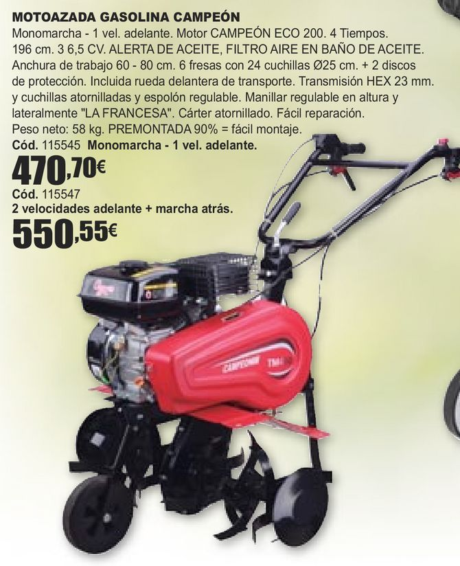 Oferta de MOTOAZADA GASOLINA CAMPEÓN  por 470,7€