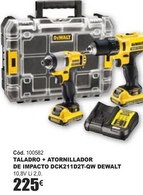 Oferta de TALADRO + ATORNILLADOR DE IMPACTO DCK211D2T-QW DEWALT  por 225€