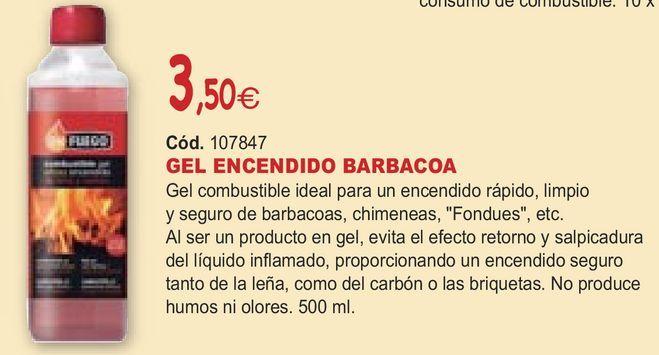 Oferta de GEL ENCENDIDO BARBACOA por 3,5€