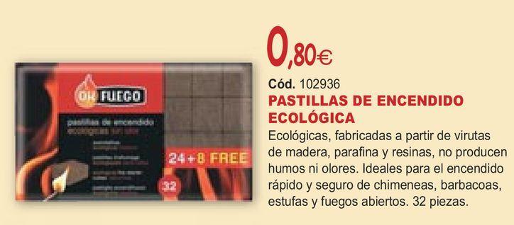 Oferta de PASTILLAS DE ENCENDIDO ECOLÓGICA  por 0,8€