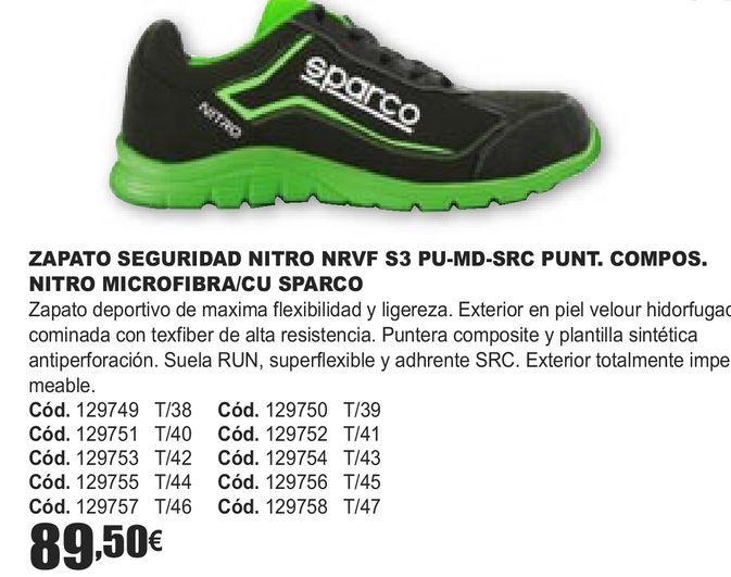 Oferta de ZAPATO SEGURIDAD NITRO NRVF S3 PU-MD-SRC PUNT. COMPOS. NITRO MICROFIBRA/CU SPARCO  por 89,5€