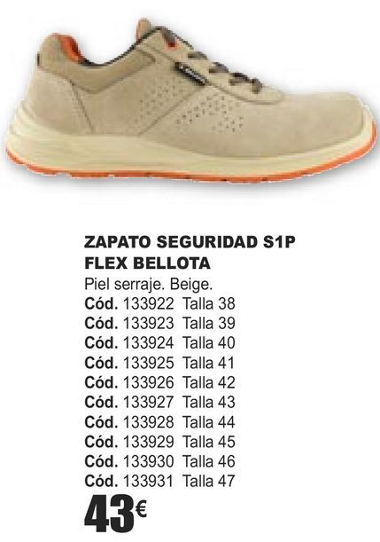 Oferta de ZAPATOS SEGURIDAD S1P FLEX BELLOTA  por 43€
