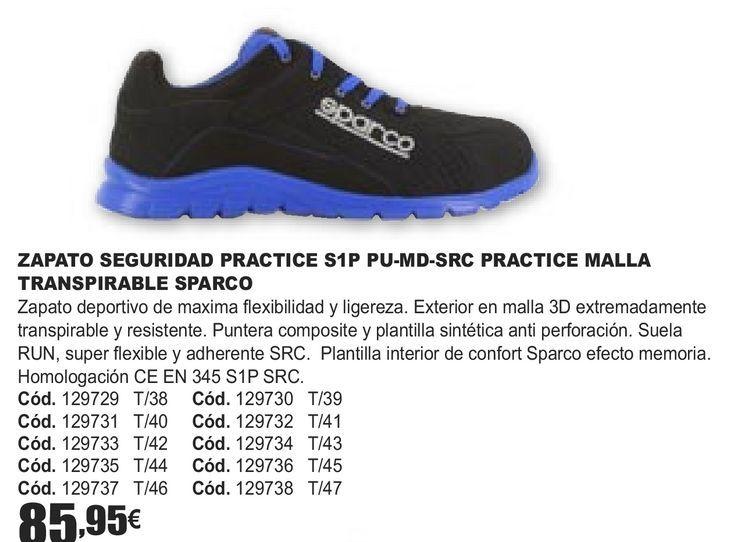 Oferta de ZAPATOS SEGURIDAD PRACTICE S1P PU-MD-SRC PRACTICE MALLA TRASPIRABLE SPARCO  por 85,95€