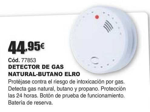 Oferta de DETECTOR DE GAS NATURAL-BUTANO ELRO por 44,95€