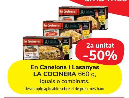 Oferta de En Canelones y Lasañas LA COCINERA 660 g por