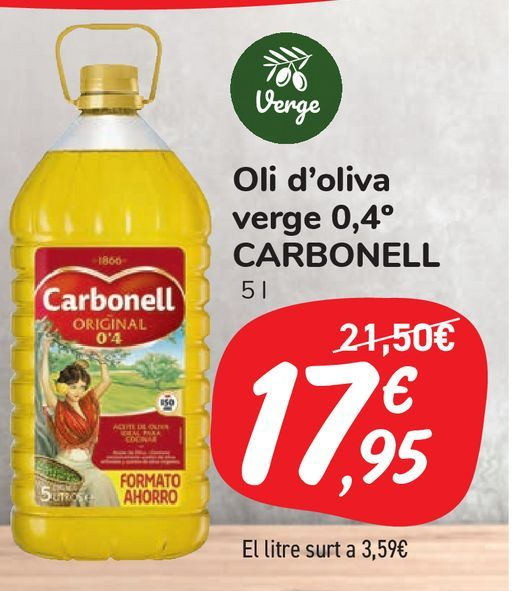 Oferta de Aceite de oliva virgen 0,4º CARBONELL por 17,95€