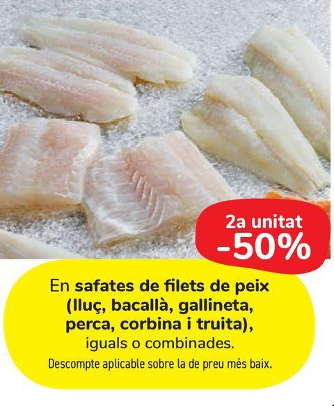 Oferta de En bandejas de filetes de pescado (Merluza, bacalao, gallineta, perca, corvina y trucha) por