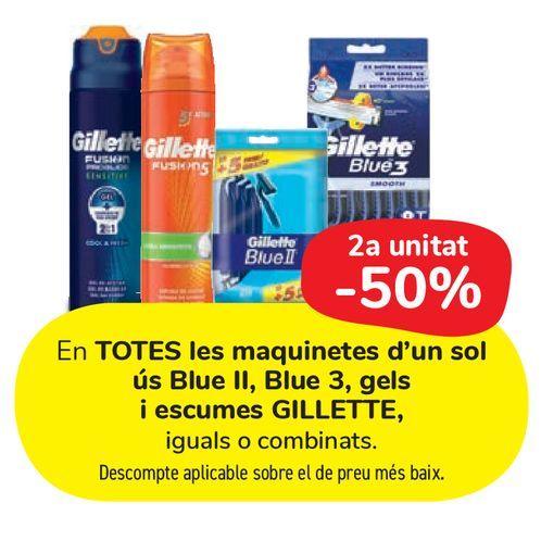 Oferta de En TODAS las maquinillas desechables Blue II, Blue 3, geles y espumas GILLETTE por