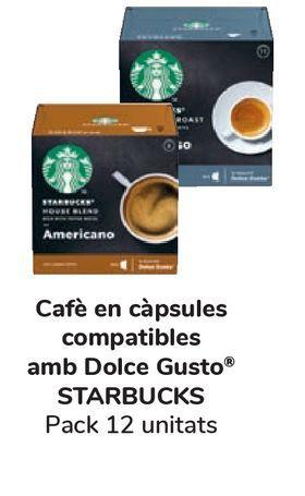 Oferta de Café en cápsulas compatibles con Dolce Gusto STARBUCKS Pack 12 unidades por