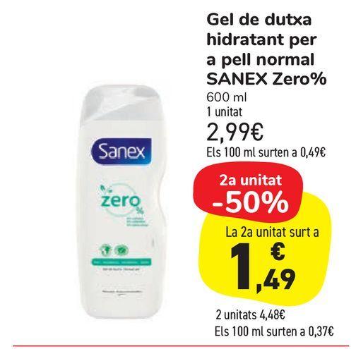 Oferta de Gel de ducha hidratante para piel normal SANEX Zero% por 2,99€